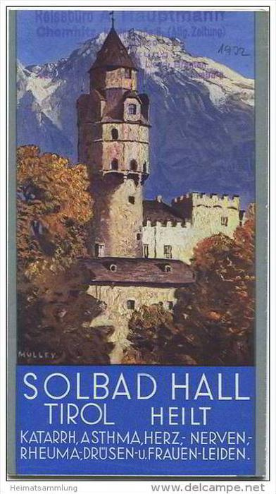 Hall in Tirol 30er Jahre - Faltblatt mit 19 Abbildungen