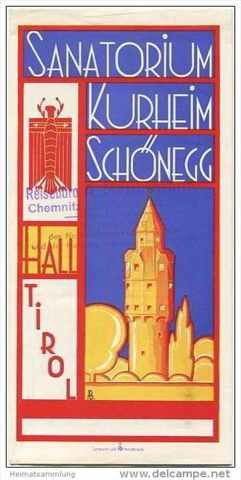 Hall in Tirol 30er Jahre - Sanatorium Kurheim Schönegg - Faltblatt mit 8 Abbildungen