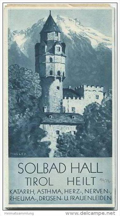 Hall in Tirol 30er Jahre - Faltblatt mit 15 Abbildungen - Wohnungsliste 1932