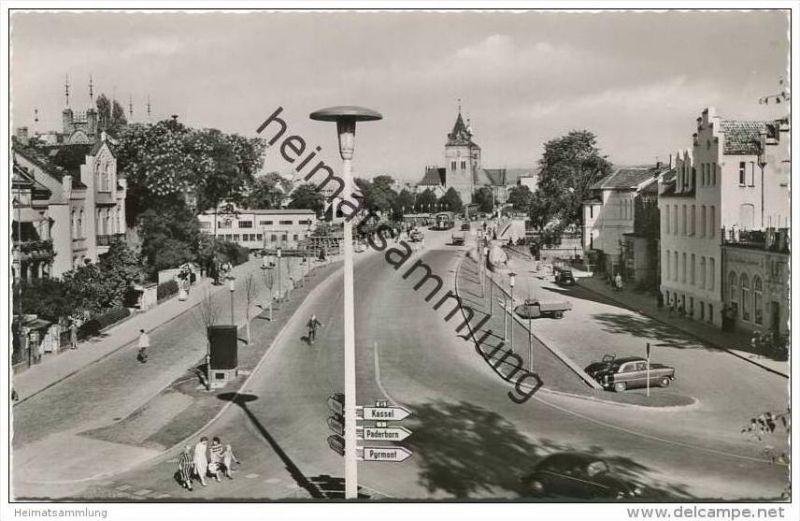 Hameln - Blick zur neuen Weserbrücke mit Münster - Foto-AK 1958