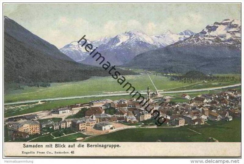 Samaden mit Blick auf die Berninagruppe ca. 1920