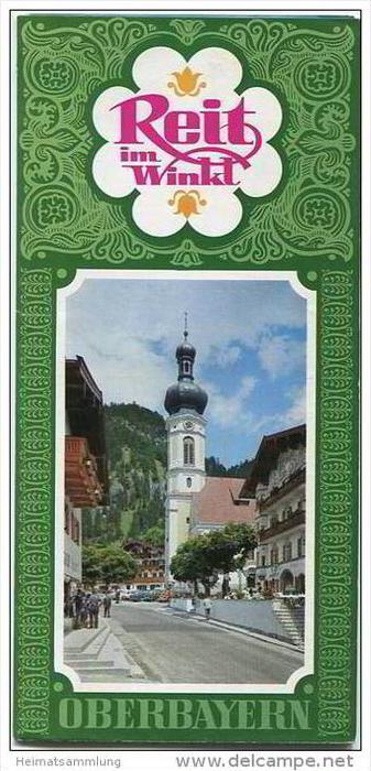 Reit im Winkl 1969 - Faltblatt mit 15 Abbildungen - Reliefkarte signiert Berann - Wohnungsliste und Ortsplan