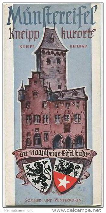 Bad Münstereifel 50er Jahre - Faltblatt mit 10 Abbildungen - Stadtplan und Unterkunftsverzeichnis
