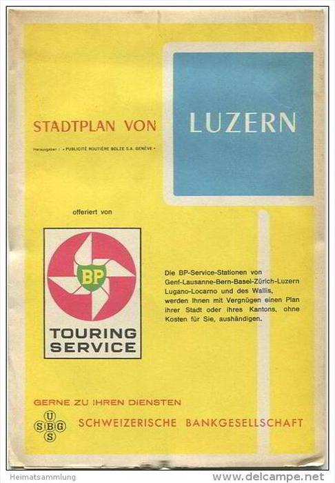 Luzern - Stadtplan offeriert von BP Touring Service - viel Werbung