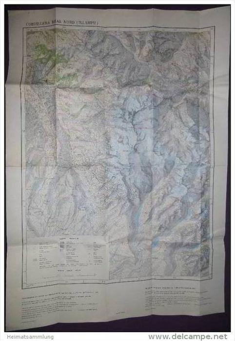 Cordillera Real Nord (Illampu) - Bolivien - 1:50 000 - 60cm x 84cm - Herausgegeben vom Deutschen Alpenverein 1987