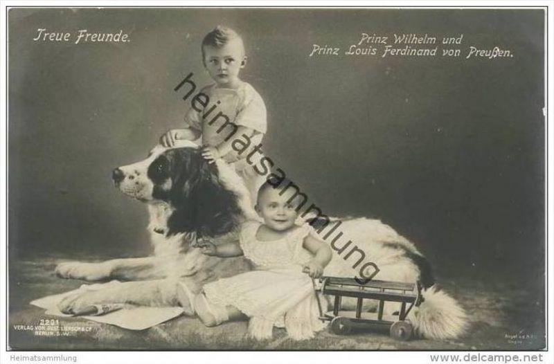 Prinz Wilhelm und Prinz Louis Ferdinand von Preussen mit Hund - Söhne des Kronprinzenpaares