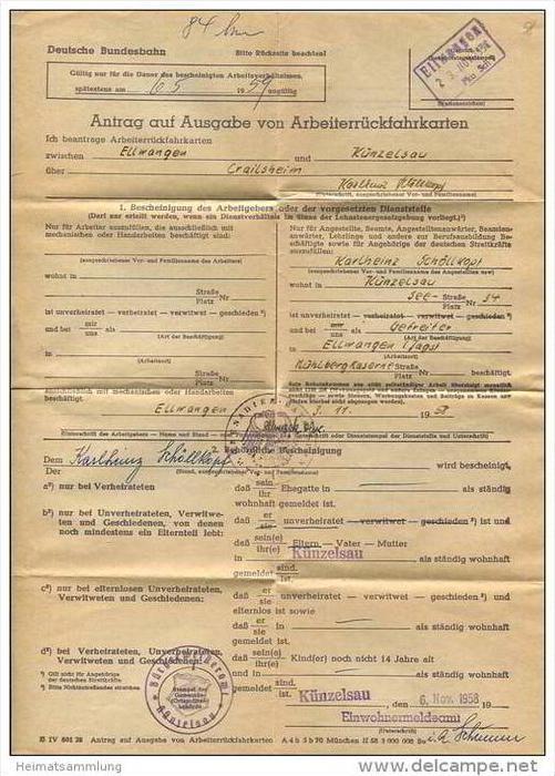 Antrag auf Ausgabe von Arbeiterrückfahrkarten 1958 zwischen Ellwangen und Künzelsau - DinA4 Blatt gefaltet