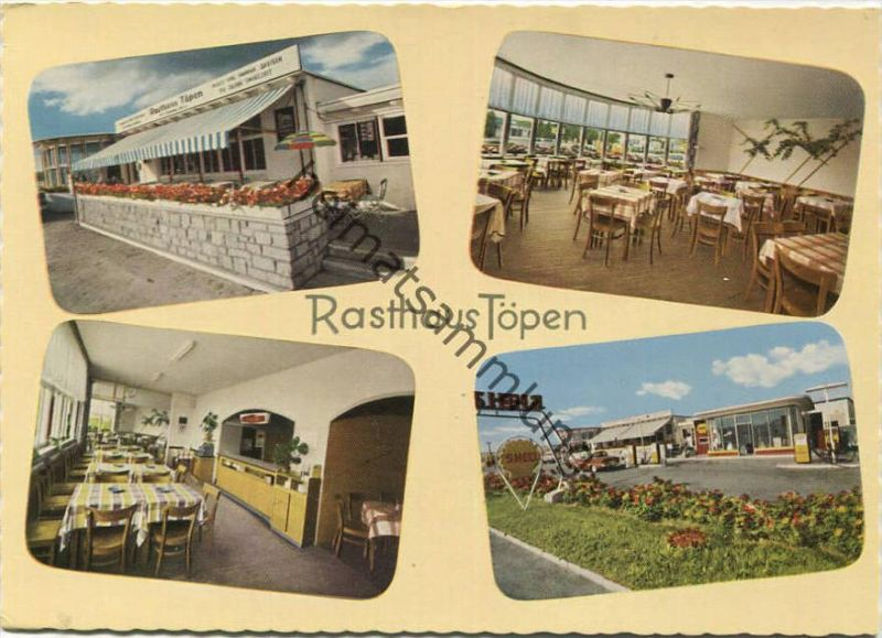 Töpen - Rasthaus Töpen - Besitzer Hermann Müller mit Shellstation am Zonengrenzübergang - Oberfränkischer Ansichtskarten