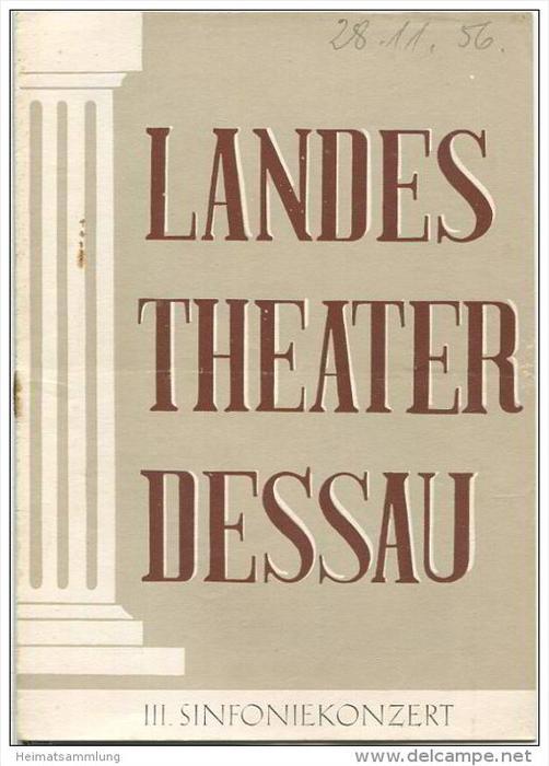 Landestheater Dessau - Spielzeit 1956/57 Nummer 17 - Programmheft III. Sinfoniekonzert