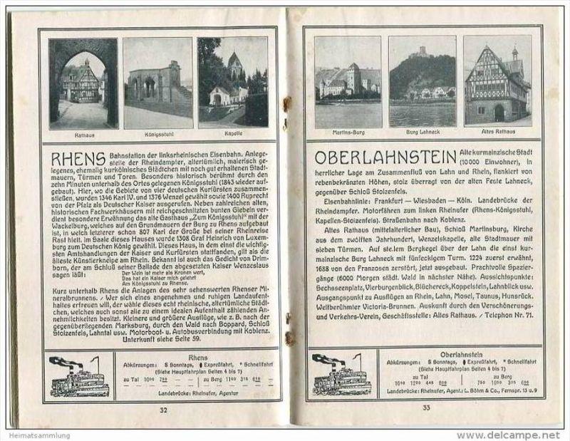Der Rhein 1926 - Köln-Düsseldorfer Rhein-Dampfschiffahrt - Rheinischer Verkehrsverband e. V. Godesberg - 66 Seiten