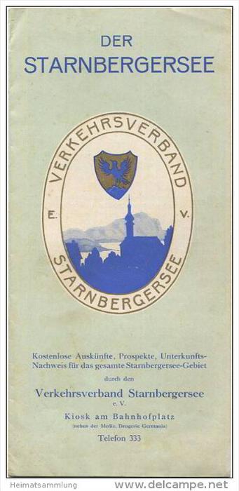 Der Starnbergersee 30er Jahre - Verkehrsverband Starnbergersee e. V. - 6 Seiten mit 14 Abbildungen