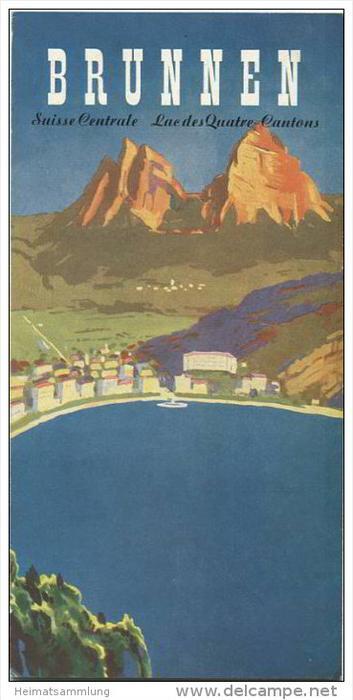 Brunnen 1950 - 8 Seiten mit 12 Abbildungen - Ortsplan Hotel und Gaststättenverzeichnis mit Abbildungen von 23 Hotels
