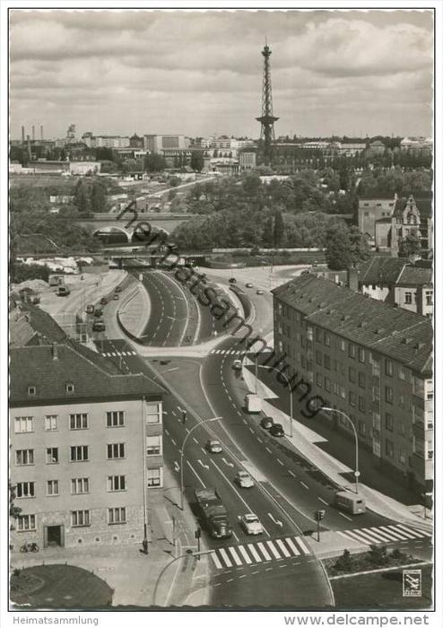 Stadt-Autobahn - Halenseestrasse und Funkturm - Foto-AK Grossformat 50er Jahre