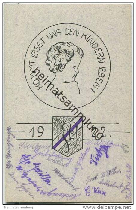 Landshut - Kommt lasst uns den Kindern leben! - Absolvia 1922 - diverse Unterschriften
