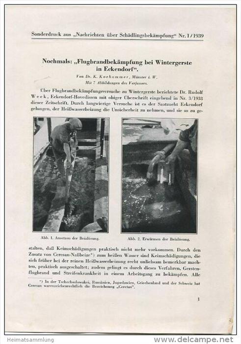 Sonderdruck aus Nachrichten über Schädlingsbekämpfung Nr. 1 1939 - Nochmals: Flugbrandbekämpfung bei Wintergerste