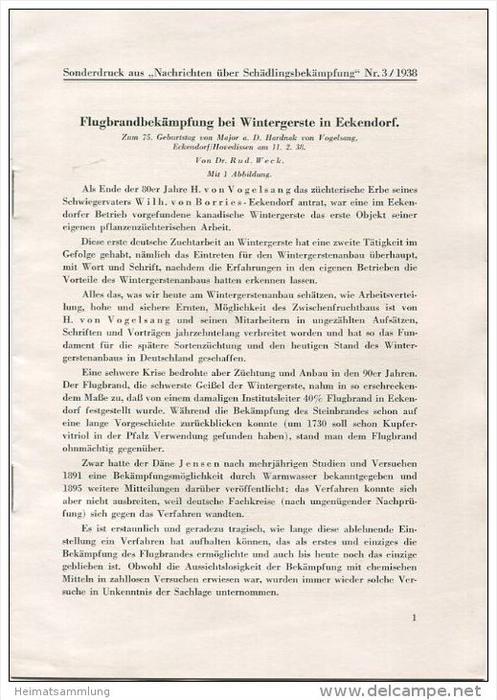 Sonderdruck aus Nachrichten über Schädlingsbekämpfung Nr. 3 1938 - Flugbrandbekämpfung bei Wintergerste in Eckendorf