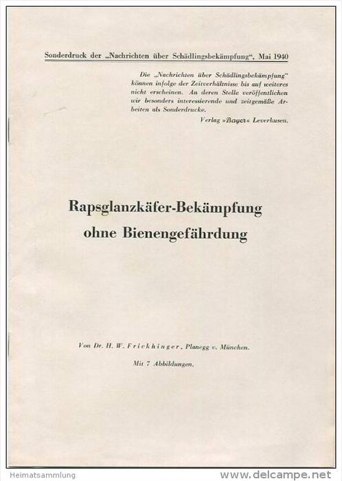 Sonderdruck aus Nachrichten über Schädlingsbekämpfung Mai 1940 - Rapsglanzkäfer-Bekämpfung ohne Bienengefährdung