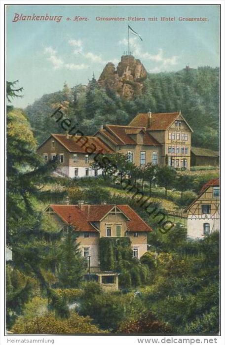 Blankenburg am Harz - Grossvater Felsen mit Hotel Grossvater