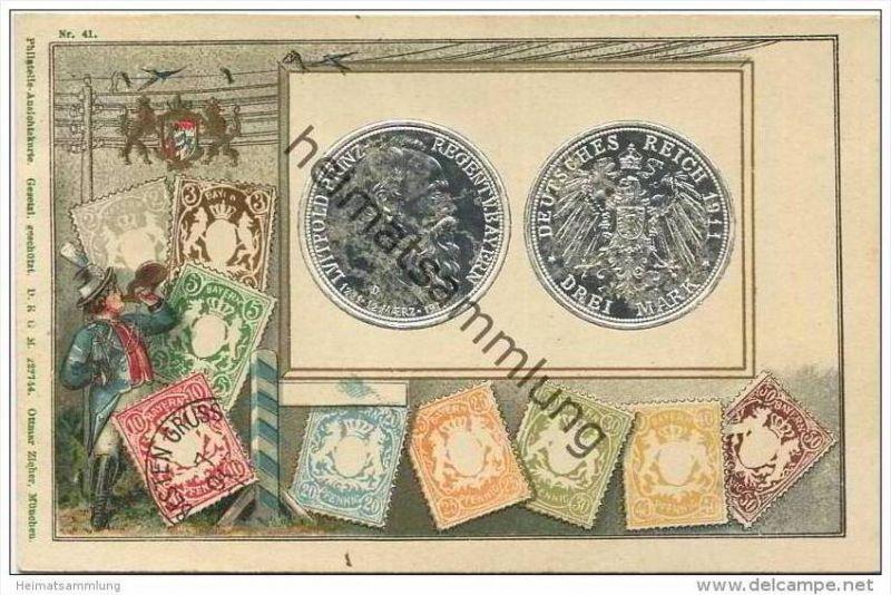 Münze drei Mark Prinz Luitpold - Briefmarken - Bayern - Prägedruck - blanko gestempelt 1911