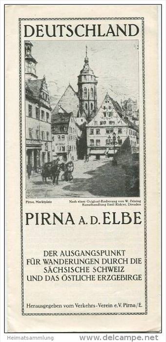 Pirna an der Elbe 30er Jahre - Faltblatt mit 6 Abbildungen