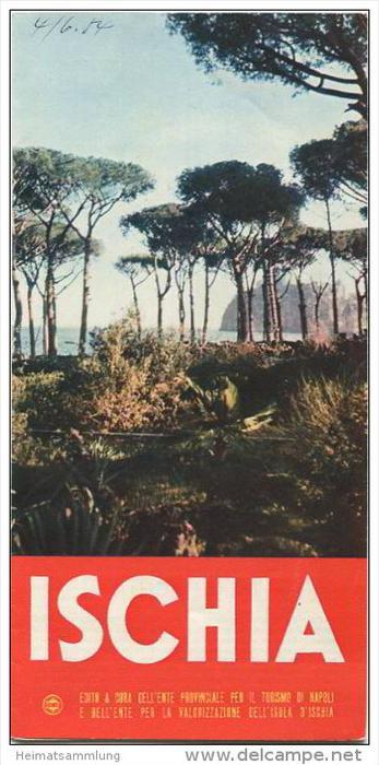 Ischia 50er Jahre - Faltblatt mit 9 Abbildungen in französischer Sprache