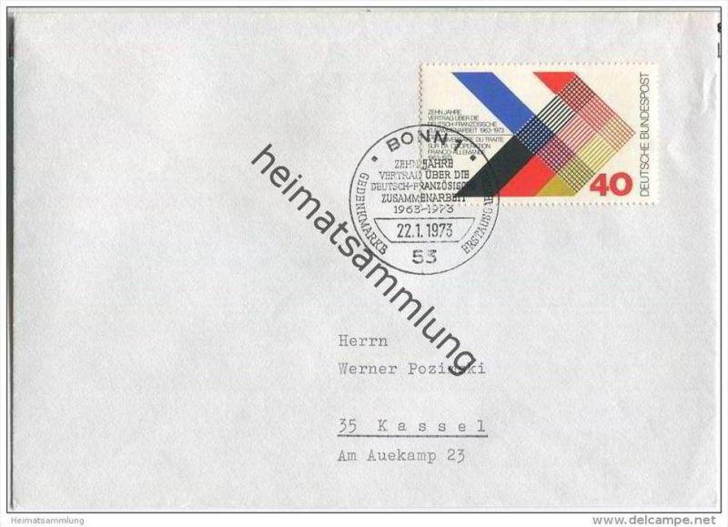 Ersttags-Brief mit Marke 10 Jahre Vertrag über Deutsch-französische ...