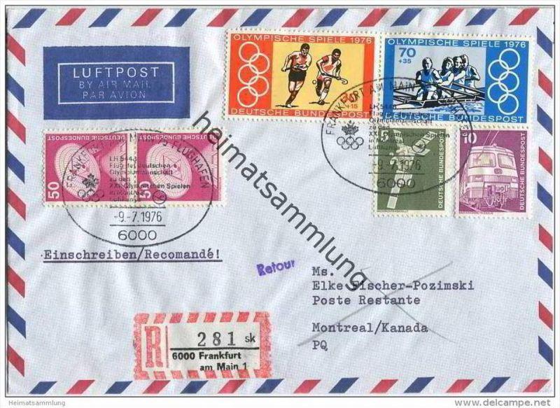 Brief Lufthansa LH 5448 - Flug der Deutschen Olympiamannschaft zu den Olympischen Spielen in Montreal