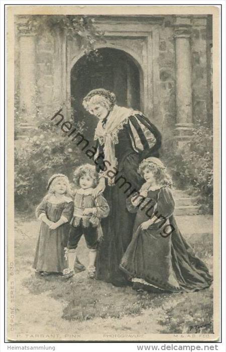 Grossmutter mit Enkelkindern im Garten - Künstlerkarte P. Tarrant - Serie 6/30