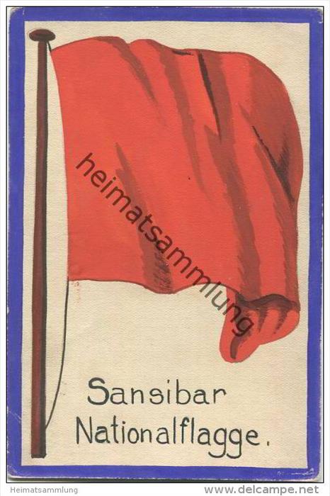 Sansibar - Nationalflagge - keine Ansichtskarte - Grösse ca. 14 X 9 cm - etwa 1920 handgemalt auf dünnem Karton