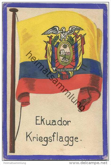 Ekuador - Kriegsflagge - keine Ansichtskarte - Grösse ca. 14 X 9 cm - etwa 1920 handgemalt auf dünnem Karton