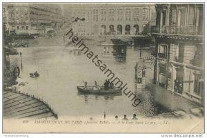 Paris - Inondations de Paris 1910 - A la Gare Saint-Lazare