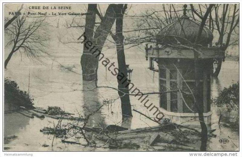 Paris - Crue de la Seine - Janvier 1910 - Pont Neuf - Le Vert Galant inonde