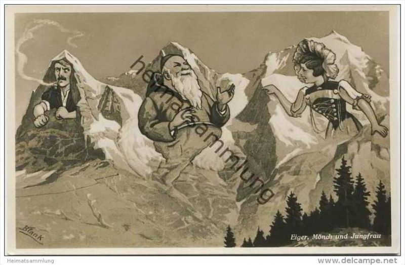 Schweiz - Eiger Mönch und Jungfrau - Berggesichter - Künstlerkarte signiert Blank 40er Jahre