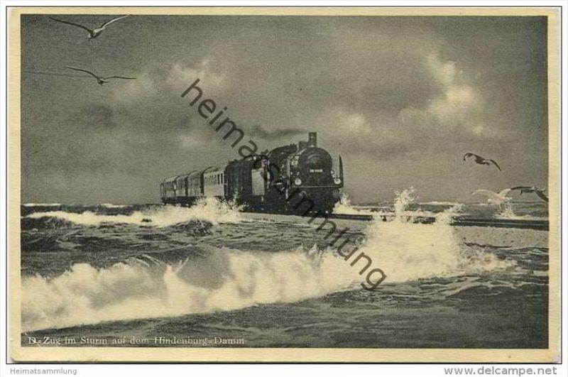 D-Zug im Sturm auf dem Hindenburg-Damm