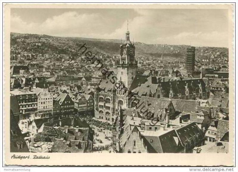 Stuttgart - Rathaus - Foto-AK Grossformat