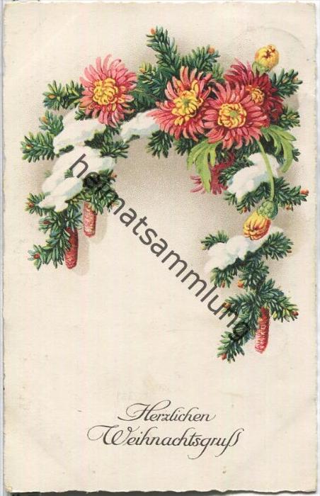 Herzlichen Weihnachtsgruß - Tannenzweige - Blumen