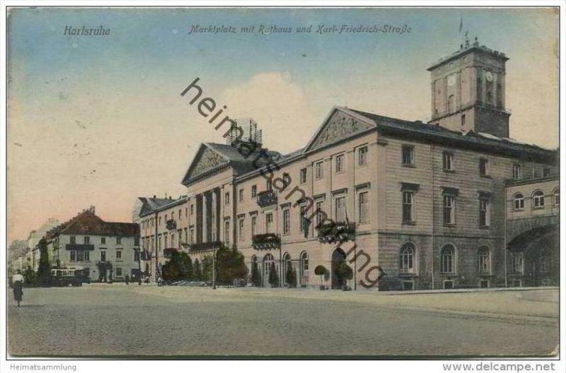 Karlsruhe - Marktplatz mit Rathaus und Karl-Friedrich-Strasse