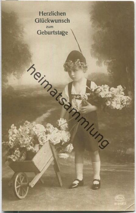 Geburtstag - Junge - Schubkarre - Blumen
