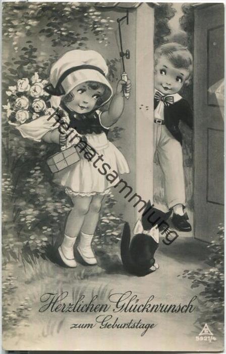 Die besten Wünsche zum Geburtstage - Junge und Mädchen - Katze mit Schleife