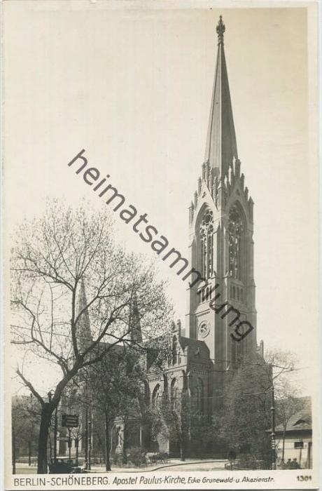 Berlin-Schöneberg - Apostel Paulus Kirche - Ecke Grunewald und Akazienstrasse - Foto-AK 30er Jahre - Verlag Ludwig Walte