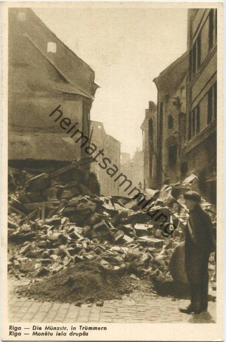 Riga - Die Münzstrasse in Trümmern - Monetu iela drupas 40er Jahre