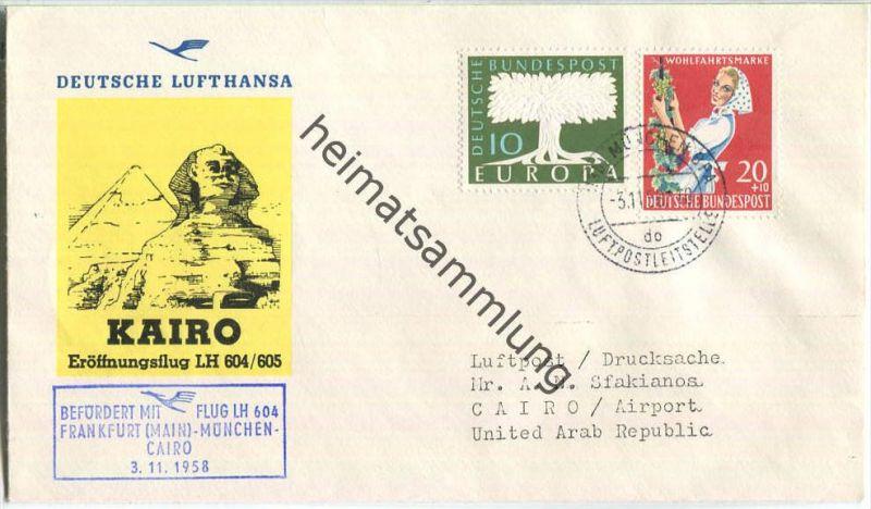 Luftpost Deutsche Lufthansa - Erstflug München - Kairo am 3.November 1958