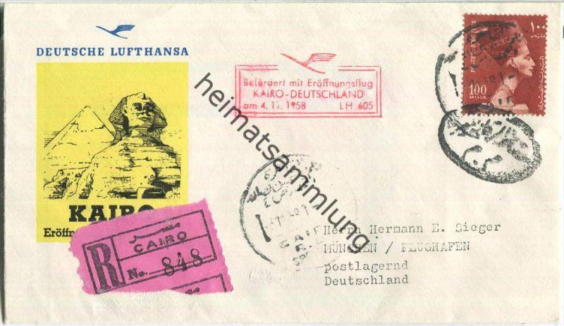 Luftpost Deutsche Lufthansa - Erstflug Kairo - München am4.November 1958