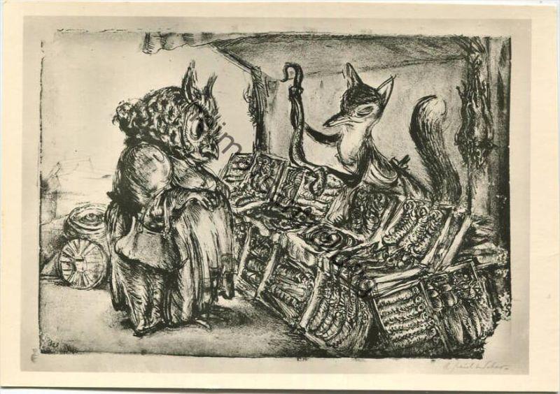 Der Supersalesman - Künstlerkarte A. Paul Weber - Lithografie Nr. 144