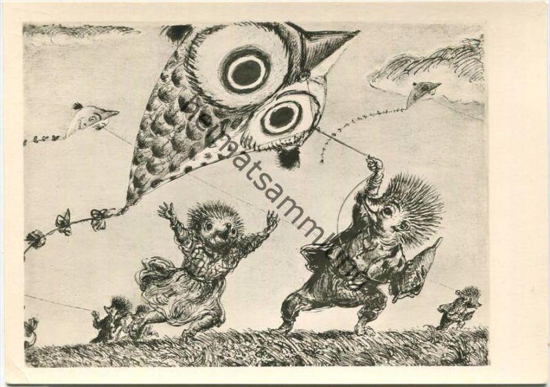Im Stoppelwind - Künstlerkarte A. Paul Weber - Lithografie Nr. 47 - Rückseite beschrieben