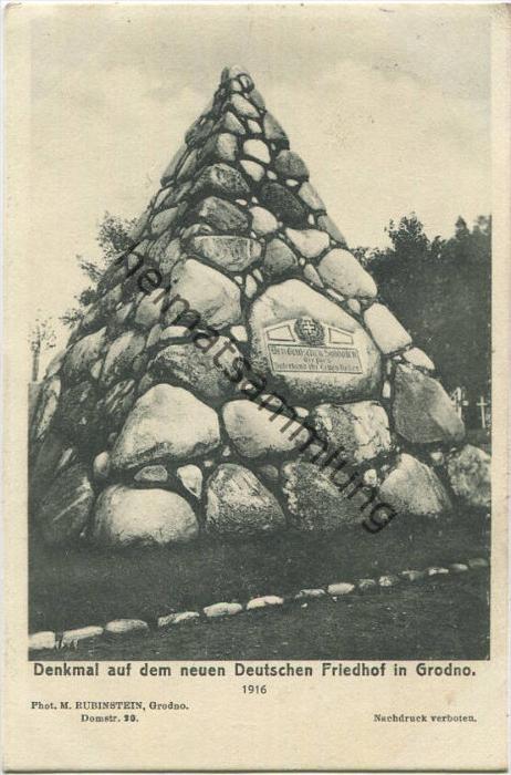 Grodno - Denkmal auf dem Deutschen Friedhof - Verlag S. Gan Grodno - Feldpost gel. 1916
