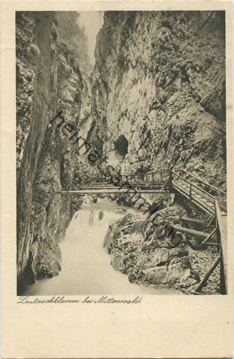 Mittenwald - Leutaschklamm - Verlag Franz Josef Huber München gel. 1923