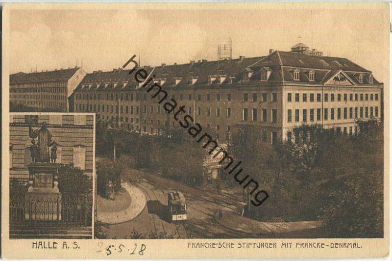 Halle (Saale) - Francke'sche Stiftungen - Francke-Denkmal - Verlag Louis Glaser Leipzig