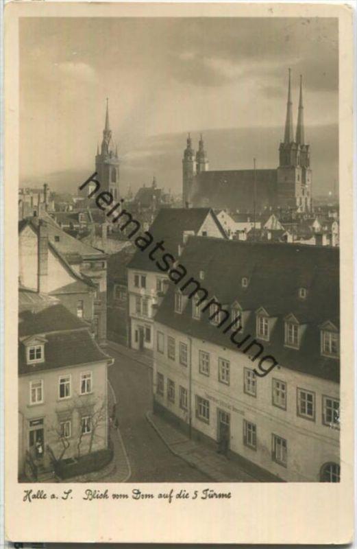 Halle (Saale) - Blick vom Dom - Verlag Walter Meixner Leipzig