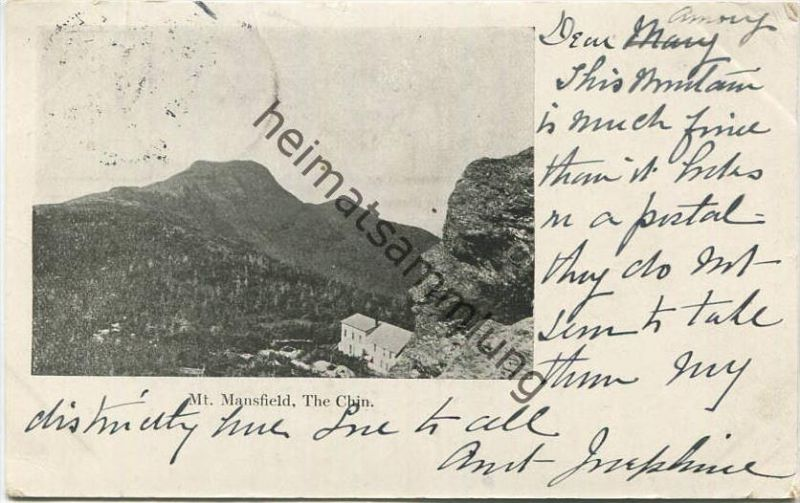 Mt. Mansfield - The Chin - Burlington Souvenir gel. 1904